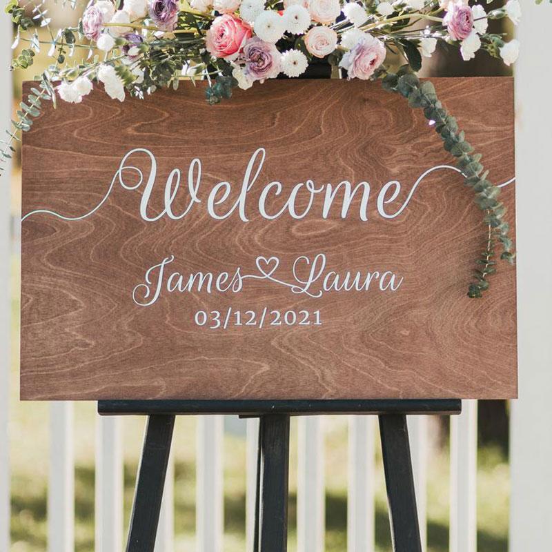 Sinal de Boas-vindas de Madeira Sinais de Boas-vindas Casamento Personalizado Rústico Decoração Boardd