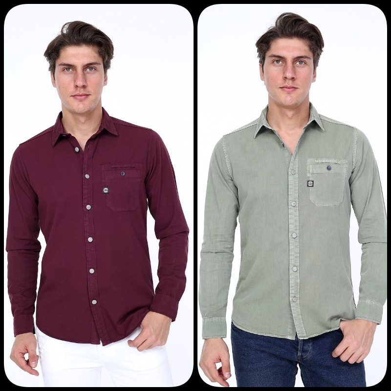 RIVSD MENS SHIRT KHAKI JACKET MILITARY SAFARI Shirts Gift For Men 2020 STYLE SLIM FIT %100 COTTON REAL EUROPEAN SIZE