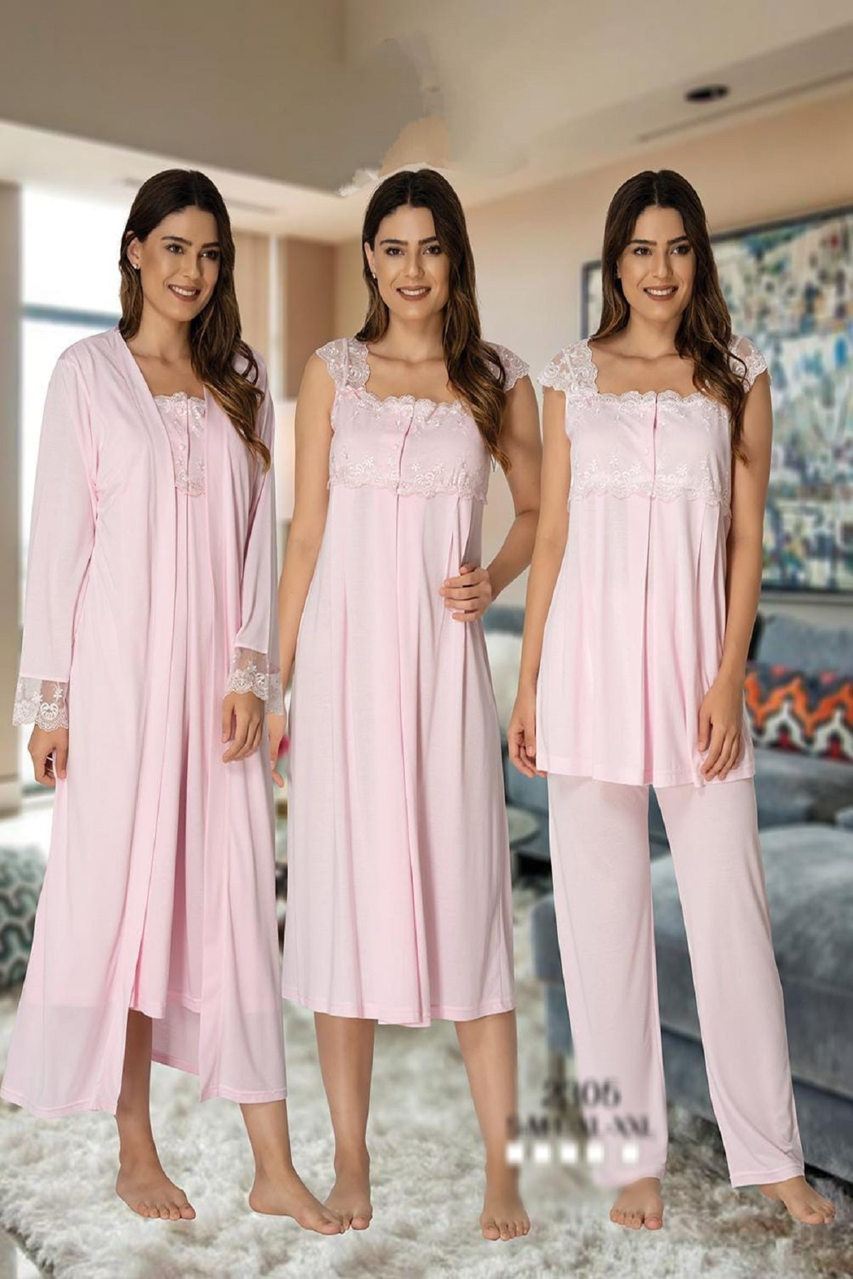 Effort Pajamas Women Pajamas Nightgown Dressing Gown Maternity Maternity 4 Pieces Red Gray Ecru Navy Blue enlarge