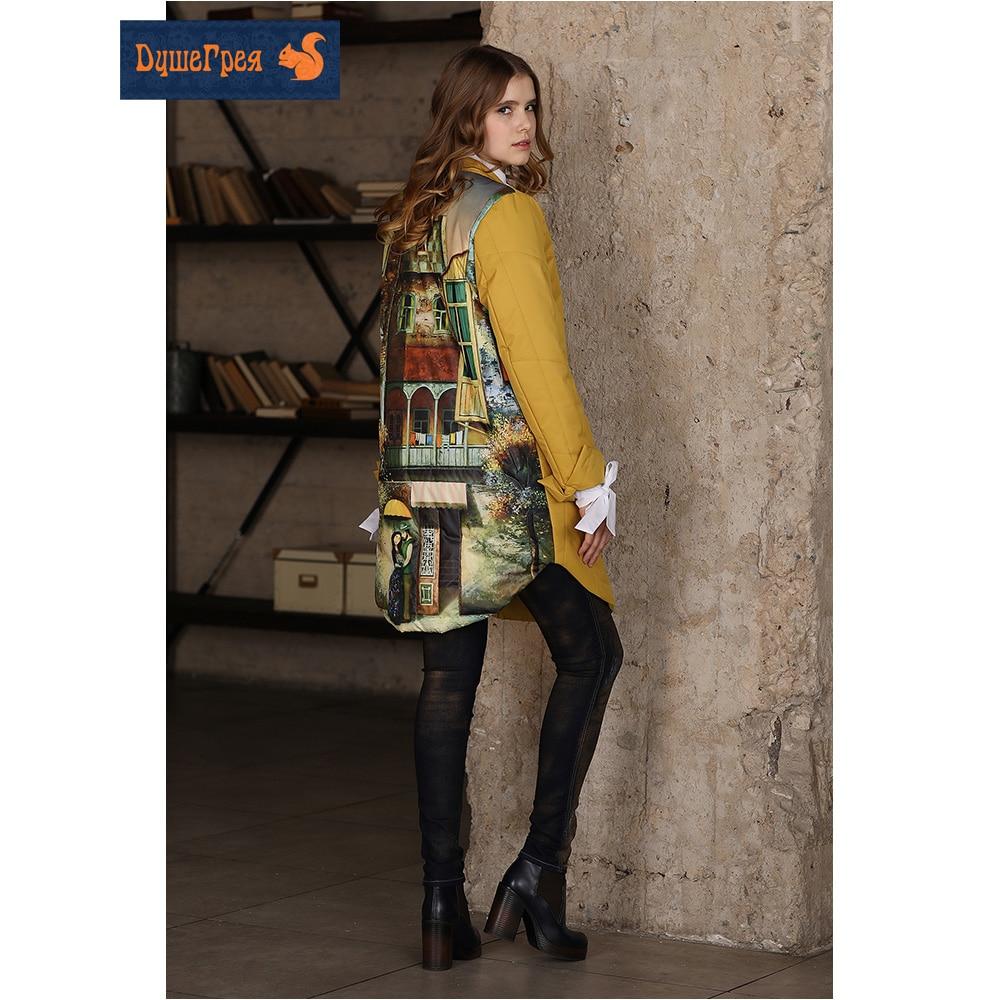 Casaco quente feminino de designer com estampa, casual com casaco para baixo para primavera e outono manga comprida joelho-comprimento