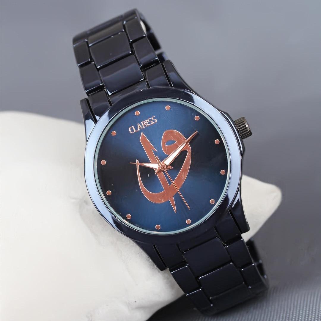 Navy blue Color Plated Metal Watchband Aleph Vav Figured Clariss Brand Ladies Wrist watch