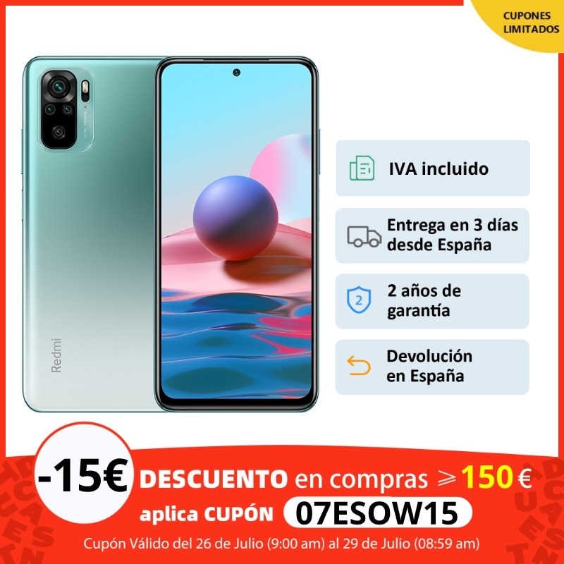 Xiaomi Redmi Note 10 (64GB/128GB ROM con 4GB RAM Android Nuevo Móvil) [Teléfono Móvil Versión Global para España] redminote10