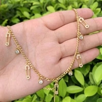 pin shape mini cz micro insert gold plated pendant brass cubas chain necklace suitable for anniversarybirthday gifts