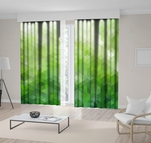 Curtain Abstract Natural Forest Sunny Day Mosaic Style Geometric Pattern Modern Artwork Printed Green Beige