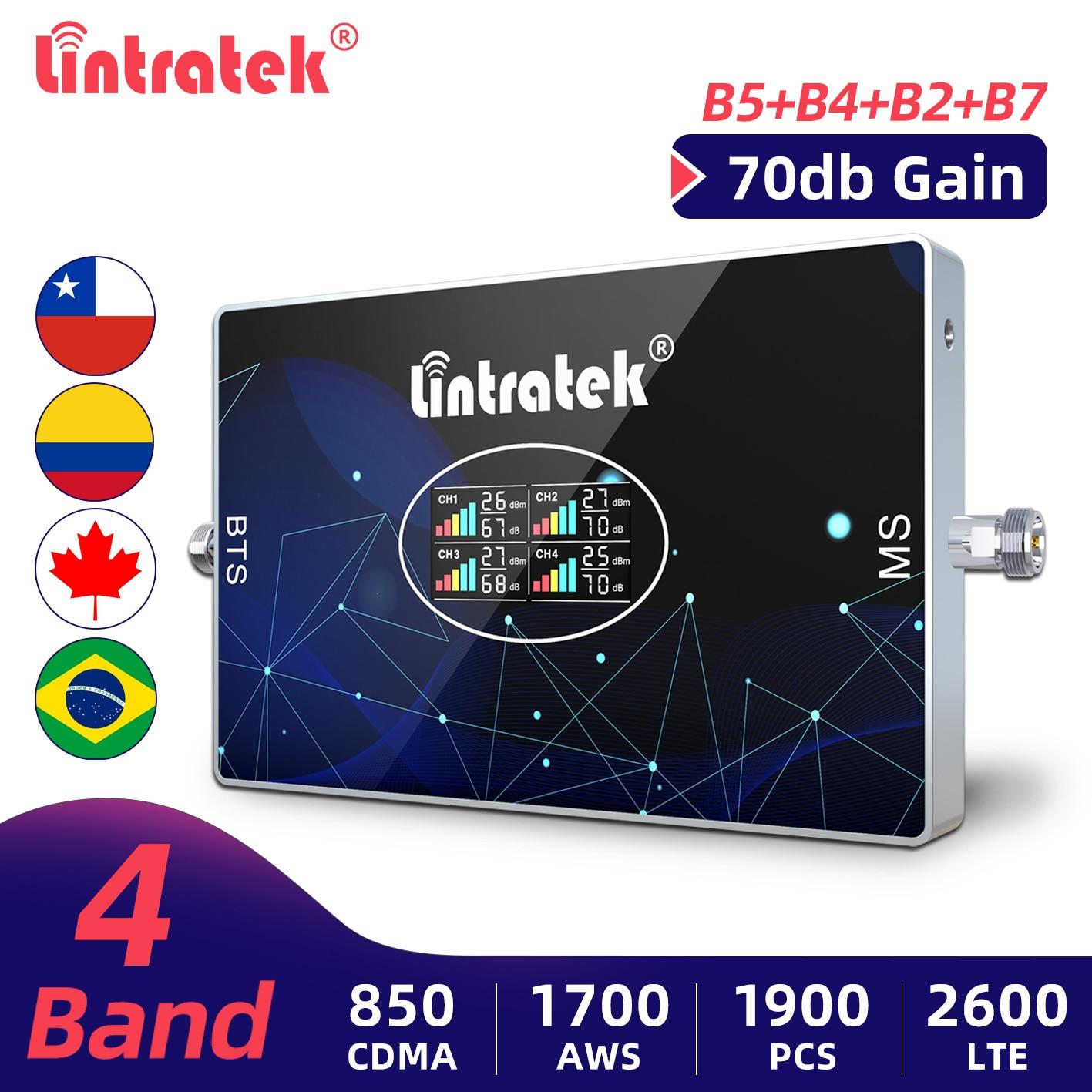 Lintratek 4G الهاتف المحمول مكرر إشارة 2G 3G 850 1700 1900 CDMA قطعة AWS الداعم B7 2600mhz LTE الخلوية مكبر للصوت 4 الفرقة الداعم