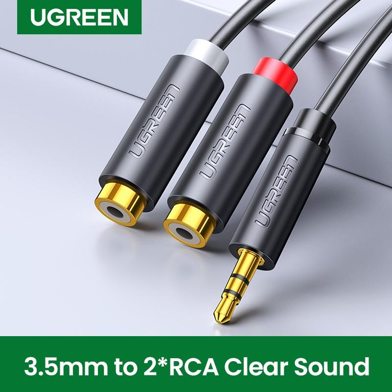 Ugreen-Cable auxiliar de Audio estéreo, adaptador macho a 2RCA de 3,5mm para...