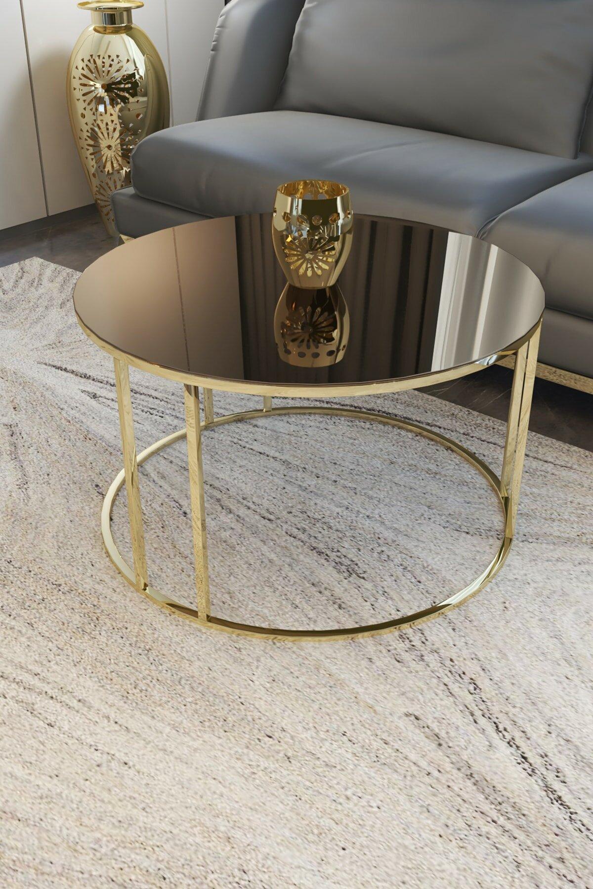 وسط منتصف الجدول طاولة قهوة عصرية كبيرة طاولة القهوة الذهب الساق البرونزية مرآة زجاج غير قابل للكسر ، 2021 منضدة قهوة فاخرة
