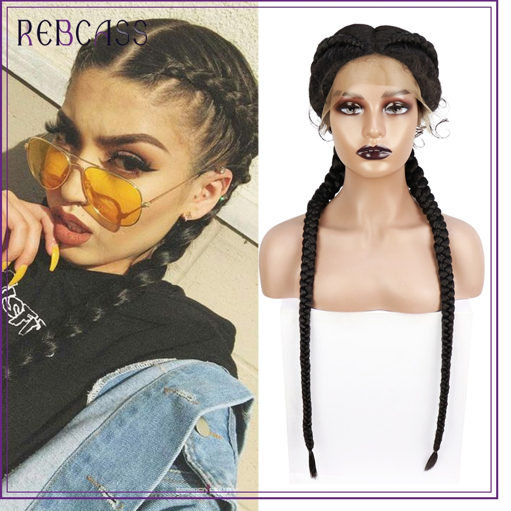 Rebcass 36 Inch Braided Wigs Synthetic Lace Front Wig for Black Women Cornrow Braids Lace Wig with Baby Hair Box Braid Wig Black