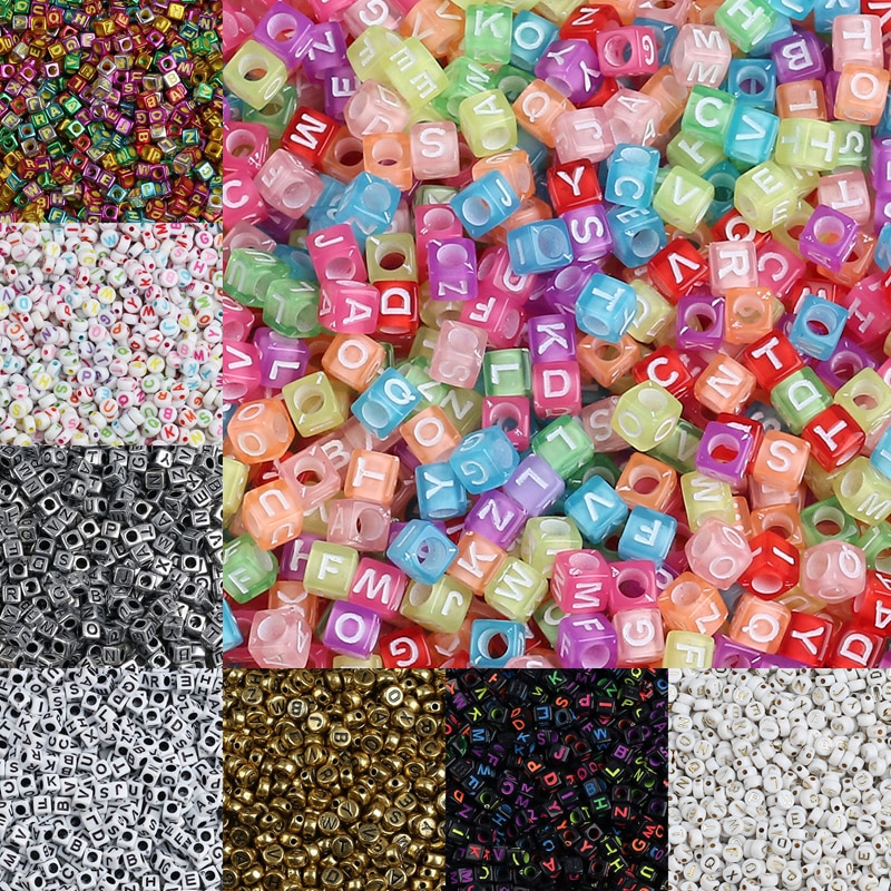Letter Acrylic Beads Round Flat Alphabet Digital Cube Loose Spacer Beads For Jewelry Making Handmade Diy Bracelet Necklace 6 14mm candy color ab acrylic round beads 20 300pcs loose spacer seed beads for jewelry making handmade diy bracelet necklace