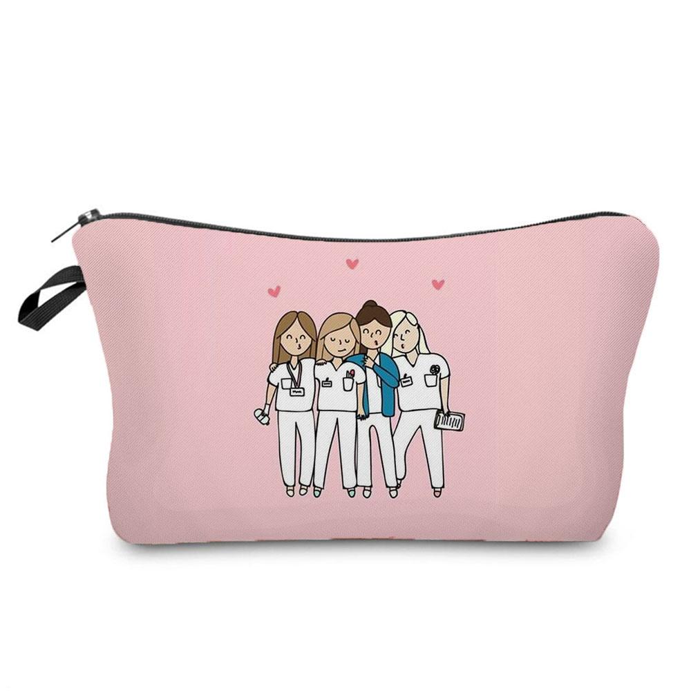 Cartoon Ladies Nurse Printed Cosmetic Bags Foldable High Capacity Women Makeup Bag Eco Reusable Stor