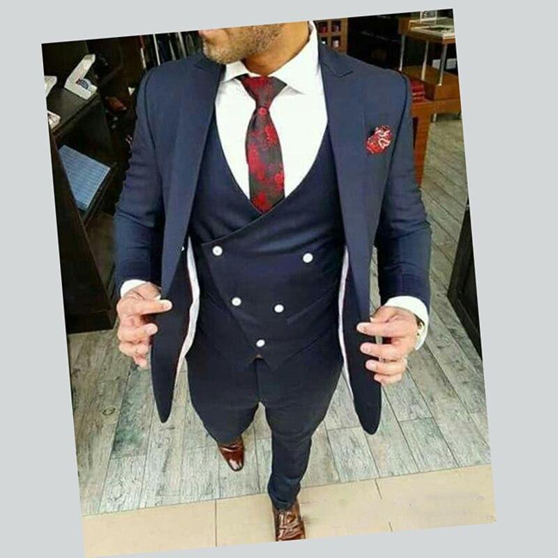 الأزرق الداكن بدل زفاف للرجال الرجال الدعاوى المصممين سليم صالح الشارع الذكية الأعمال حفلة موسيقية السترة 3 قطع تناسب الرجال