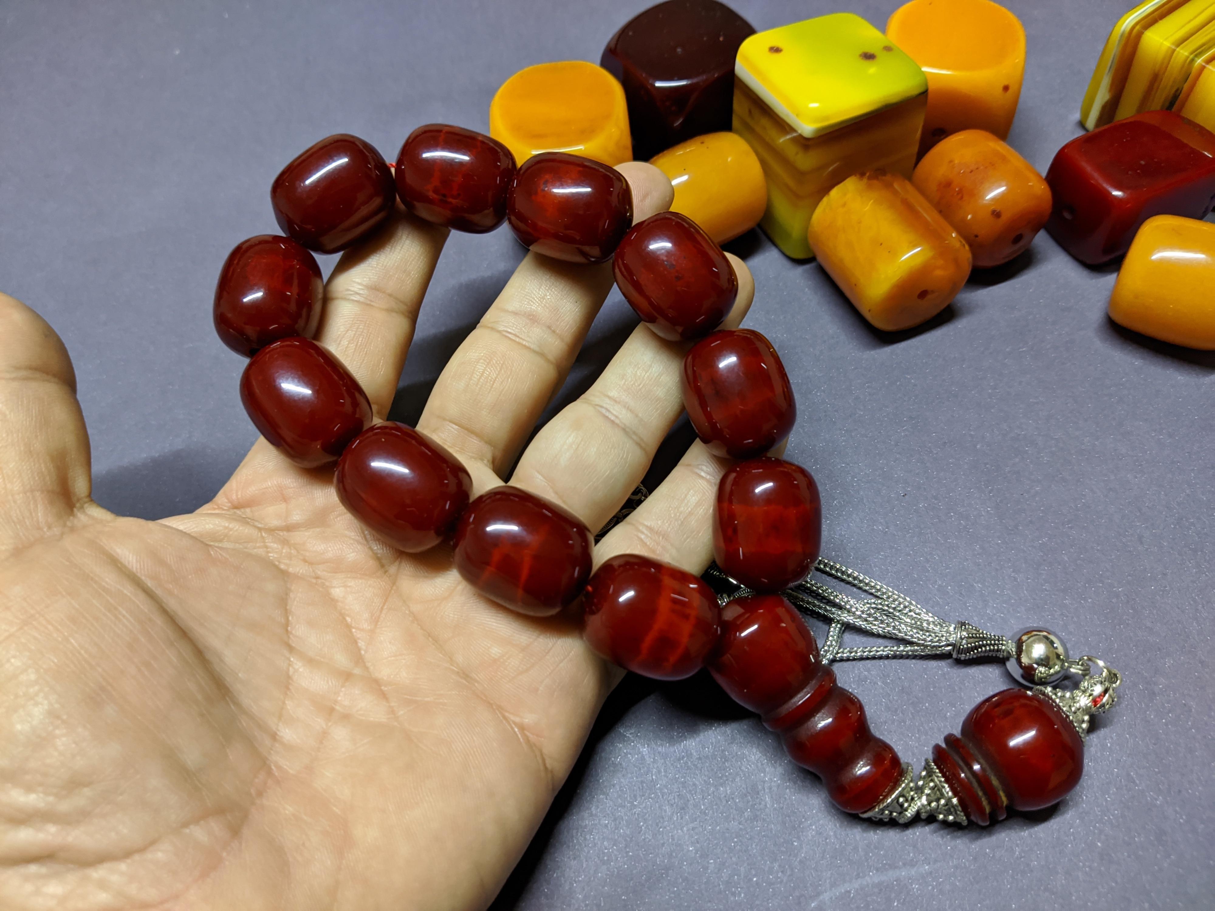 Ottoman Faturan German Amber Sandalous Misbaha Prayer Beads Islamic Gift Tasbih Tasbeeh Tasbeh Rosary Tasbih # 26D