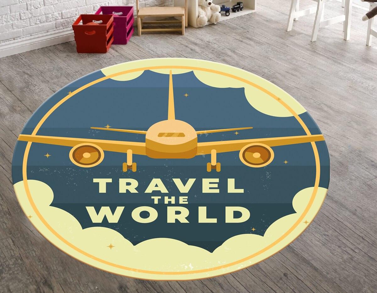 بساط السفر حول العالم ، غرفة المعيشة ، السفر ، دائري ، نمط دائري ، مشهور ، تحت عنوان ، ديكور المنزل