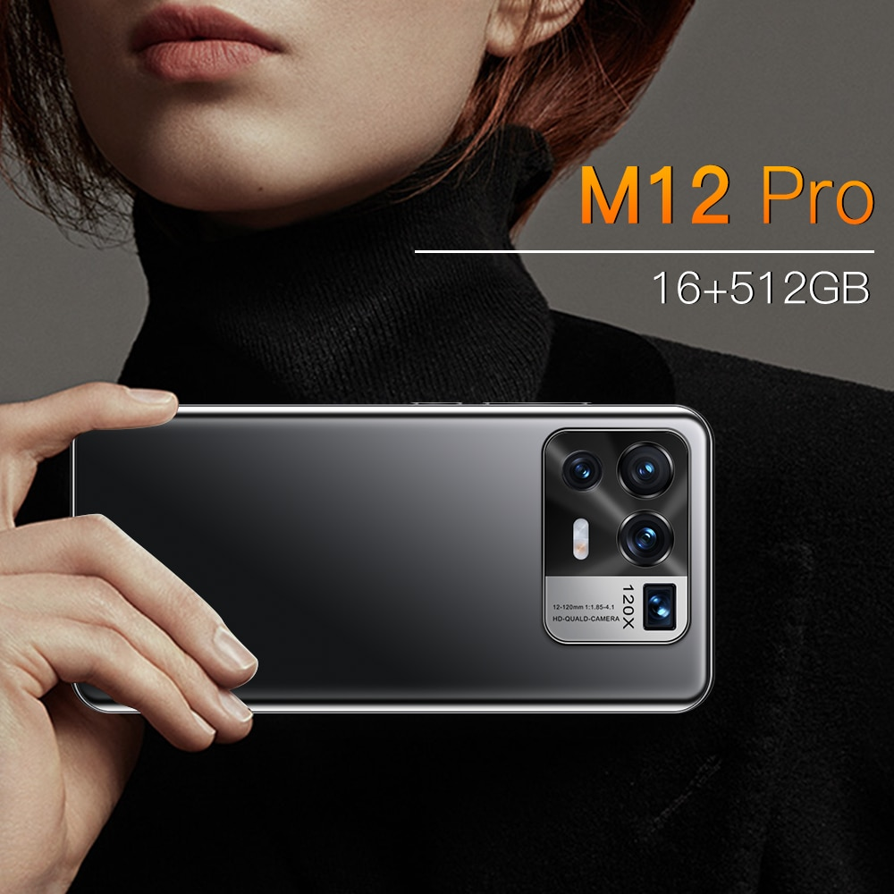 M12 Pro Global Unlocked Smartphone Face/Fingerprint 4G/5G Android11 Mobile Phone 6.7'' Full HD 50MP Cellphone Dual SIM Support