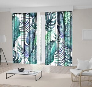 Curtain Tropical Palm and Fern Leaves on White Background Exotic Nature Watercolor Artwork Printed Blue Green White