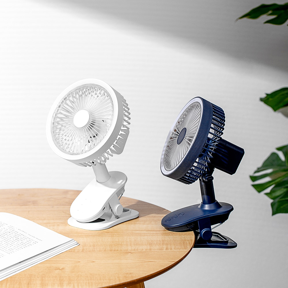 Clip USB Fan Adjustable Portable with Night Light Rotating Cooling Office Desktop Rechargeable 2400mah Battery