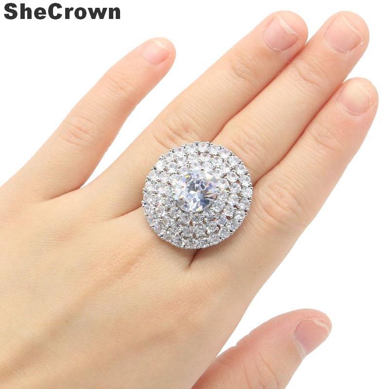 30x28mm luxo criado branco safira presente para senhoras anéis de prata