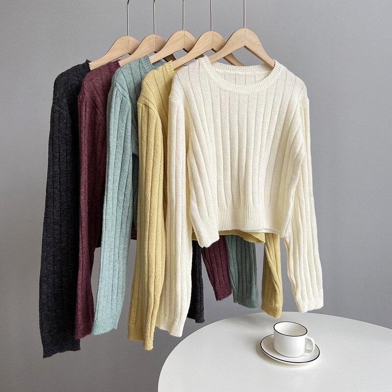 Obrix Женский Повседневный укороченный свитер, шерстяной уличный пуловер с круглым вырезом и длинным рукавом для женщин