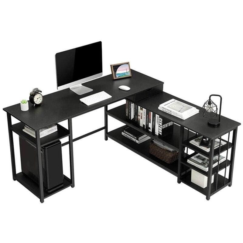 Домашний Офисный Компьютерный стол L-образной формы, угловой игровой стол 59 дюймов, учебный письменный стол, рабочая станция с полками для х...