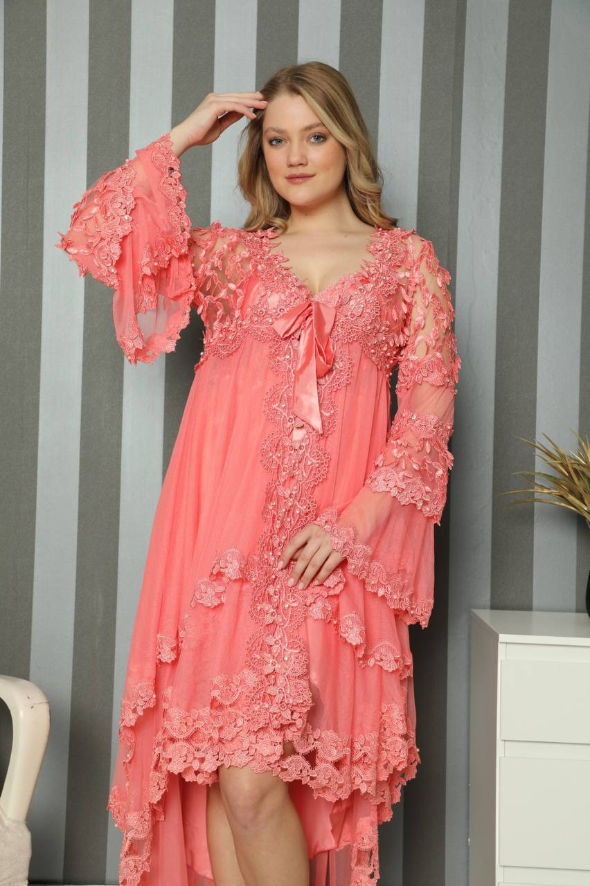 Women's Nightgown Dressing Gown Set Lace Silk Satin Short 2 Piece Underwear Comfortable Wear Horse Home Wedding Dowry Design Can we