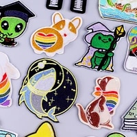 diy whaledog patch animal embroidered patches for clothing sewng applique jacket cute rainbow patch iron on patches on clothes