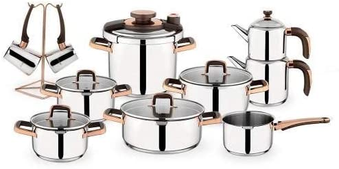 Schafer-طقم أواني طهي نحاسي من الصلب ، 18 قطعة ، غاز ، حث ، كهربائي ، هالوجين ، سيراميك