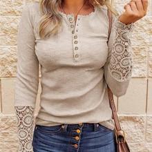 Lace Splicing Top Long Sleeve T Shirt Woman Button Slim Tops Tee Autumn Spring Patchwork Sleeve T-shirt Women Sexy Streetwear