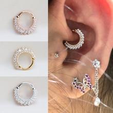 CANNER 1PCS INS Bling Hoop Earrings 925 Sterling Silver Charm Hoop Earring for Women Men Couples pendiente Plata Ear Bone Buckle