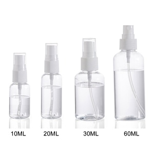 Portable Transparent Empty Spray Bottles 10ml/20ml/30ml/60ml Plastic Mini Refillable Cosmetic Containers With Spray Scent Pump