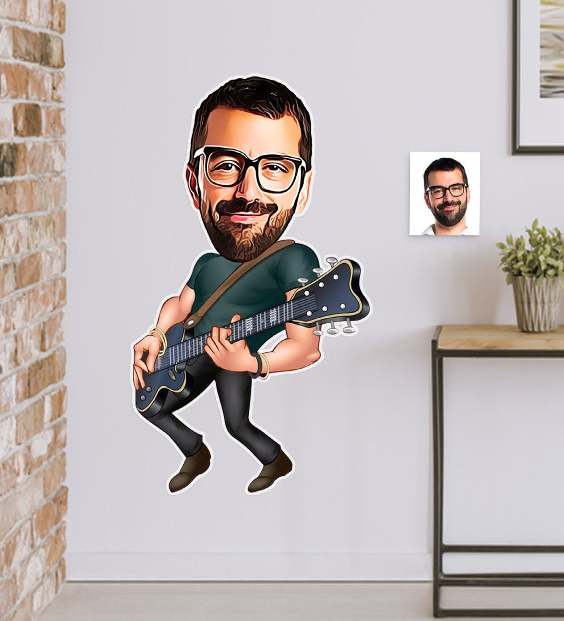 Pegatina de pared personalizada de Sr. Caricatura guitarrista (50x70cm) 1