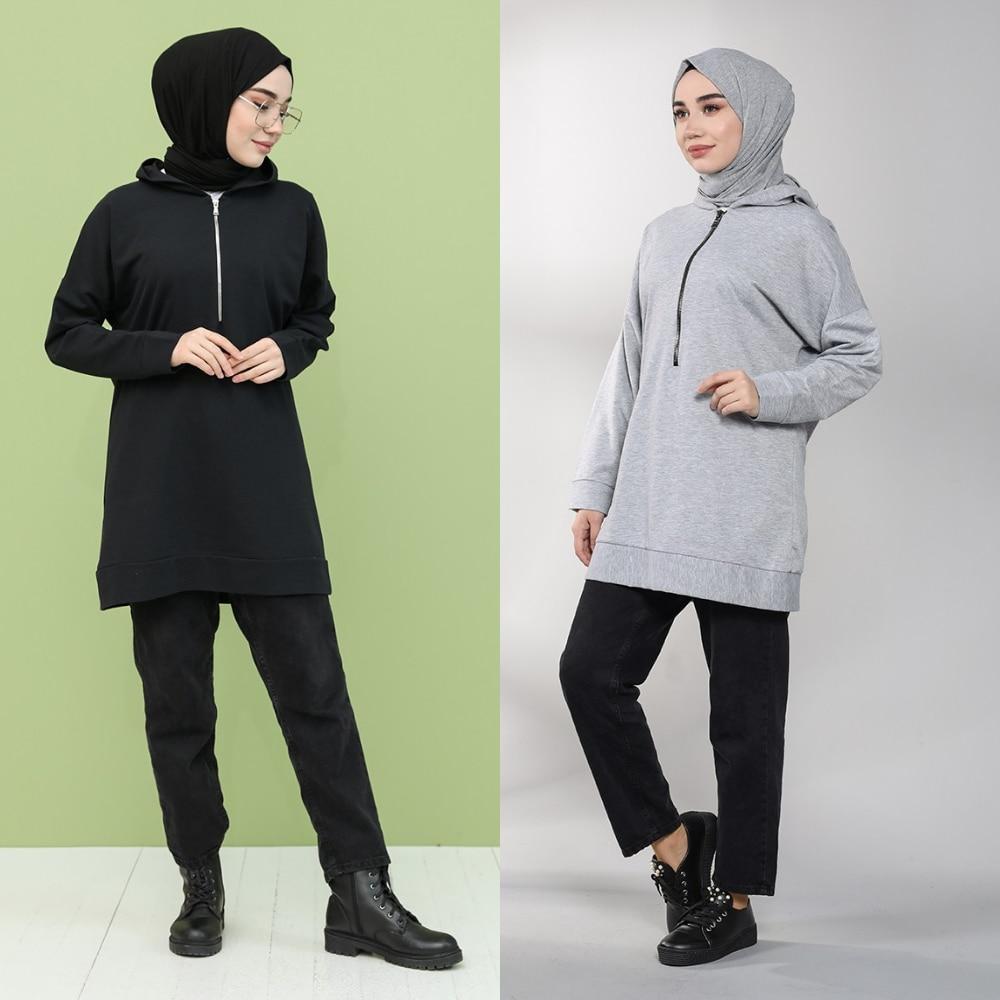 Zippered Sweatshirt Bottom Top 2 Piece Muslim Hijab Dubai Women's Fashion Trends arabia 100% Made in Turkey New Season