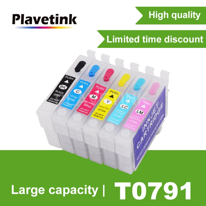 Plavetink T0791-6 recarga cartucho de tinta para Epson Stylus Photo PX650 660 700W 710W 720WD 1400, 1500 impresora artesana 1430 W P50