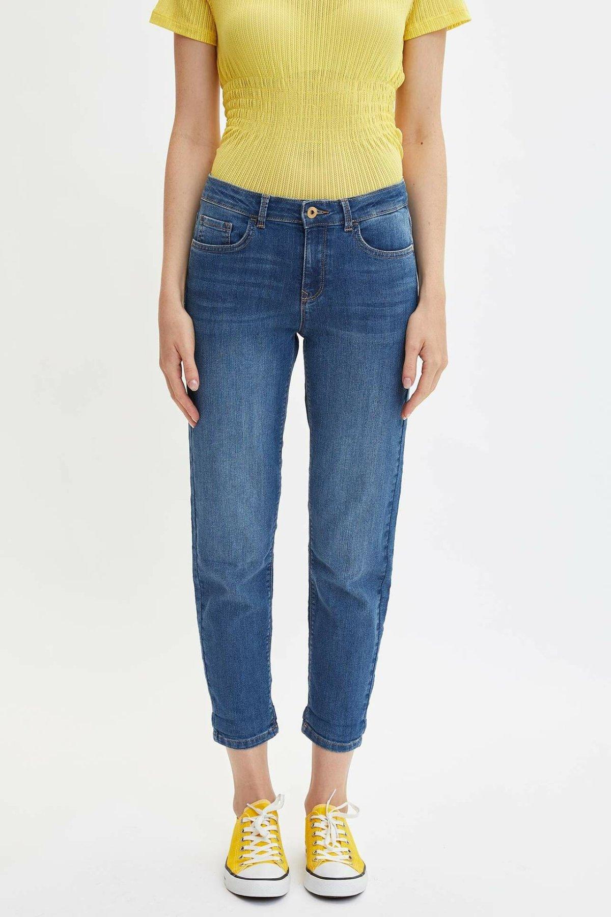 Defact Blue Lady Mid-Cintura suelta Denim Jeans Simple Joker nueve minutos pantalones pitillo casual-J0835AZ19AU