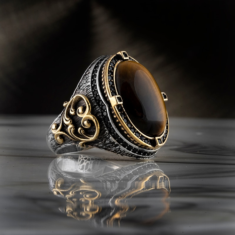 Guaranteed High-quality 925 Sterling Silver TİGER EYES STONE ring Jewelry Made in Turkey in a luxurious way for men with gift