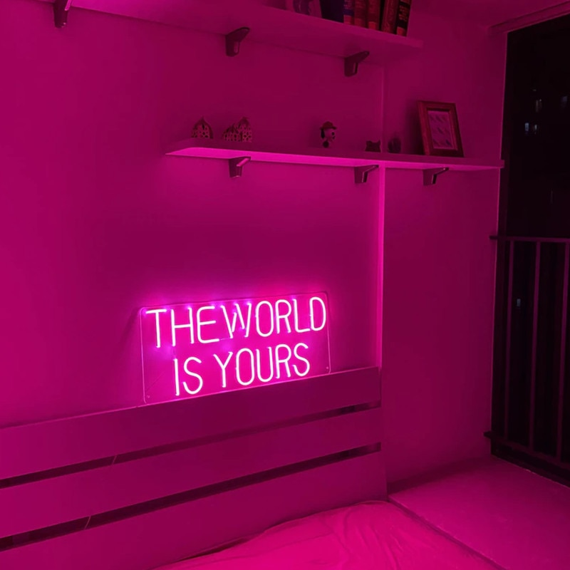 The World Is Yours Neon Sign Custom Neon Light for Wedding Bedroom Decor Neon Light Wall Decoration Pink Neon Lamp Birthday Gift enlarge
