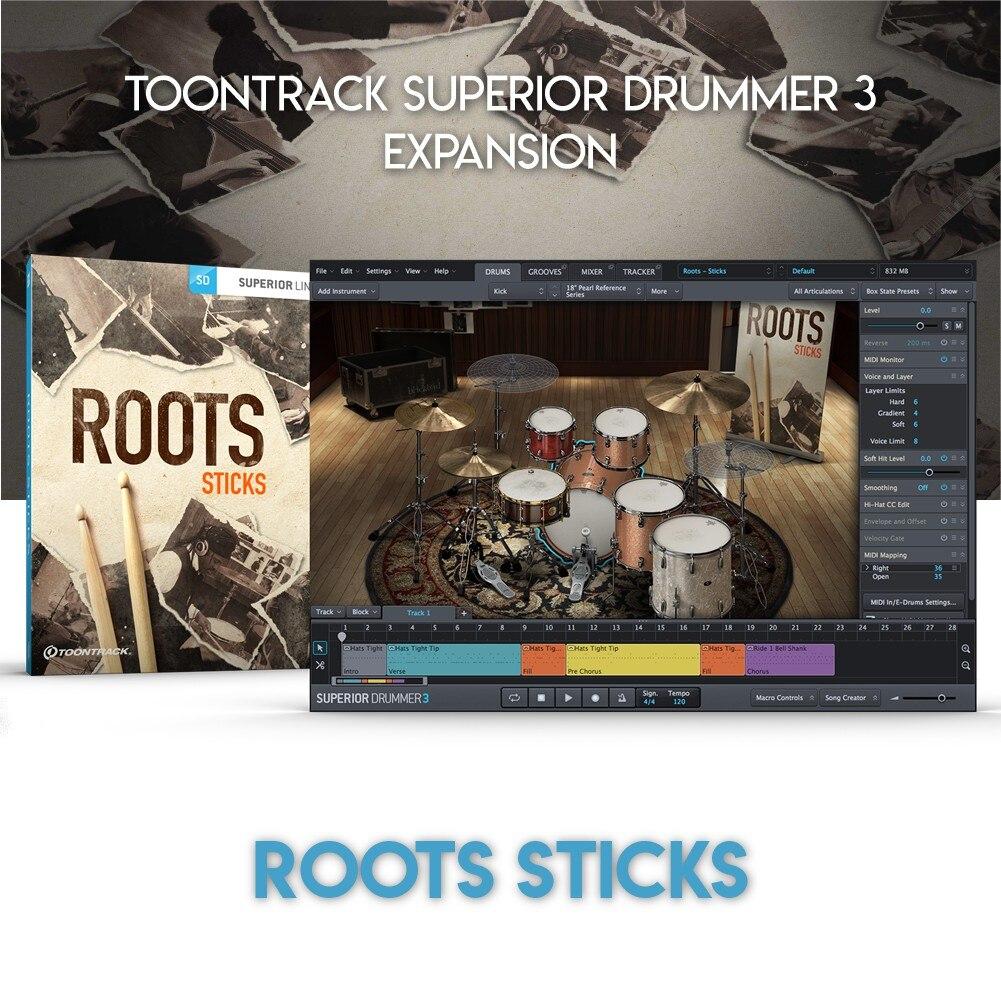 ROOTS - STICKS - TOONTRACK SUPERIOR DRUMMER 3 EXPANSION (WINDOWS 64BIT VSTi)