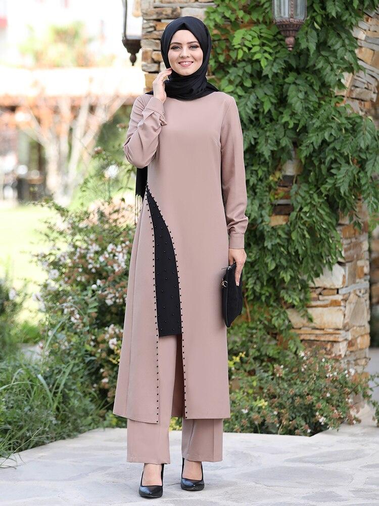 بنطلون تونك للنساء ، مزيج من الحجاب الإسلامي ، موسم جديد ، قماش كريب عالي الجودة ، خصر مرن ، تركيا