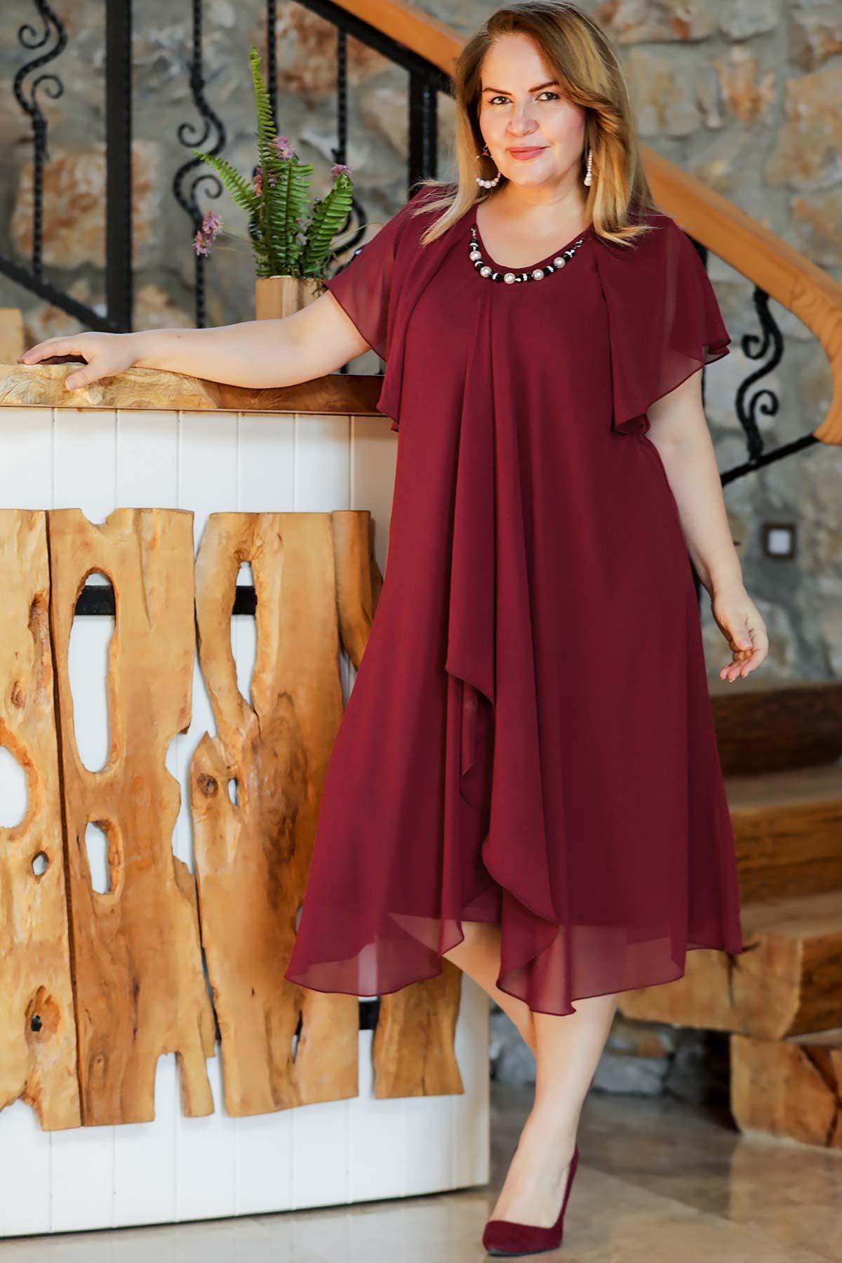 LARGE SIZE ŞİFON MİDİ SIZE ABİYE DRESS dress meeting dress 2021 summer dress long sleeve dress Wedding gown фото