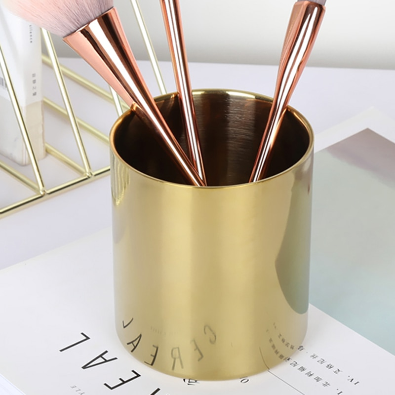 Chic Gold Pencil Cup Stainless Steel Pen Storage Round Desktop Makeup Brush Organizer Holder For Office And Bathroom