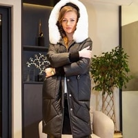 women winter black parka white fox with hood edge removable thick casual coat oversize 2021 new fashion inflatable outerwear