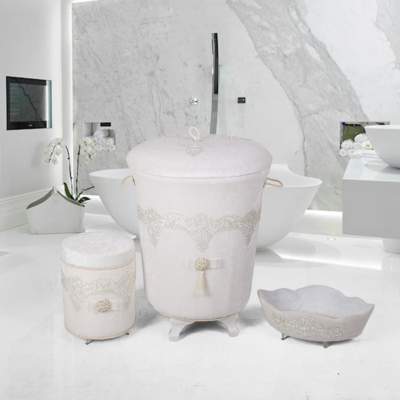 بوني المنزل الفاخرة 3 قطع سلة الغسيل مجموعة حامل المناشف صندوق المنظفات المنظم صندوق تخزين ملابس القذرة