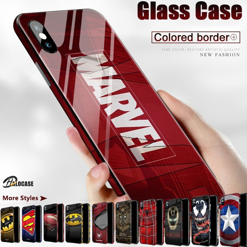 Fundas de teléfono de lujo Marvel Comics con diseño de Venom 3D Material de vidrio templado para iPhone 11 Pro MAX XS MAX XR 8 7 6 6s Plus XS 10X