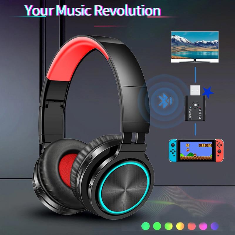 Wireless Bluetooth Headsets microphone Headset Surround Sound Headphones Bluetooth Transmitter Gamin