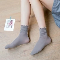 women socks no show velvet lace mid tube summer crimping ultra thin student lady solid color popsocket