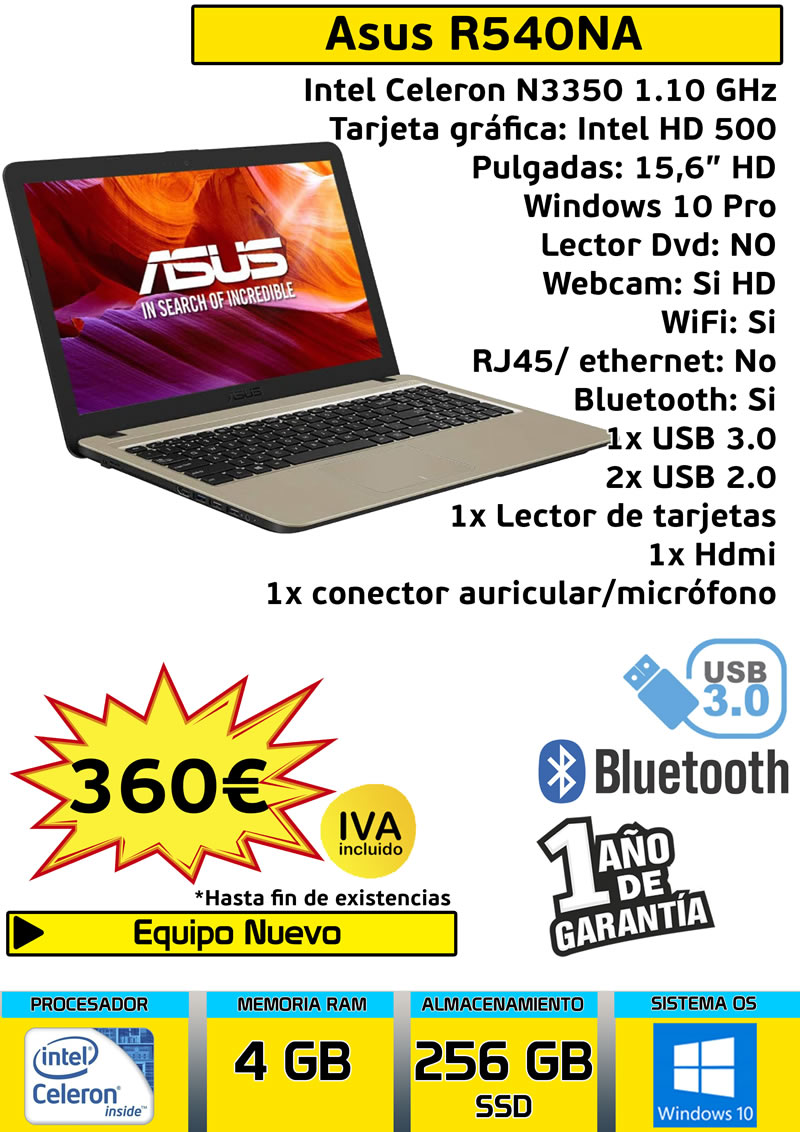 Laptop ASUS R540NA 256 gb SSD 15,6 inch powerful fast economic IDEAL telework College