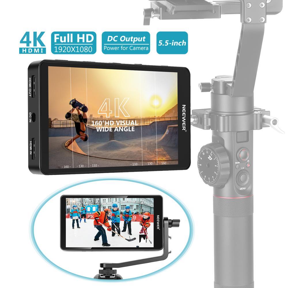 Neewer FW568 5.5 بوصة كاميرا المراقبة الميدانية مع 4K 8.4V DC المدخلات والمخرجات فيديو تبلغ ذروتها التركيز مساعدة مع قطب الذراع