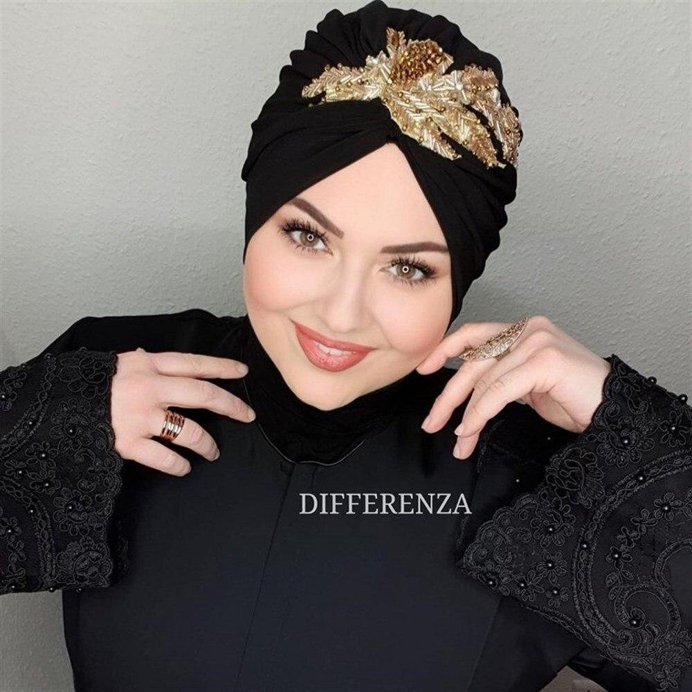 Шапка-тюрбан Hijab для женщин, мусульманская эластичная шапка, исламский индийский арабский шарф с запахом, трендовый шарф, шапка, головной уб...