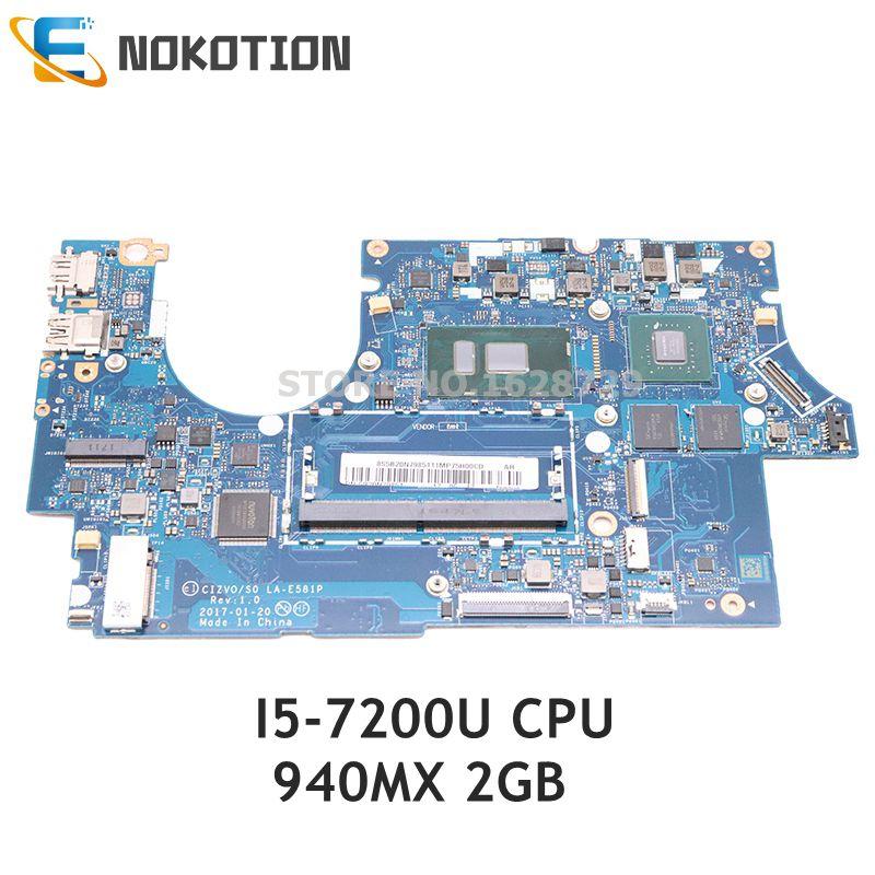 NOKOTION لينوفو 720s-14ikb اللوحة المحمول CIZVO S0 LA-E581P 5B20N79851 5B20N87826 SR342 I5-7200U CPU 940MX 2GB