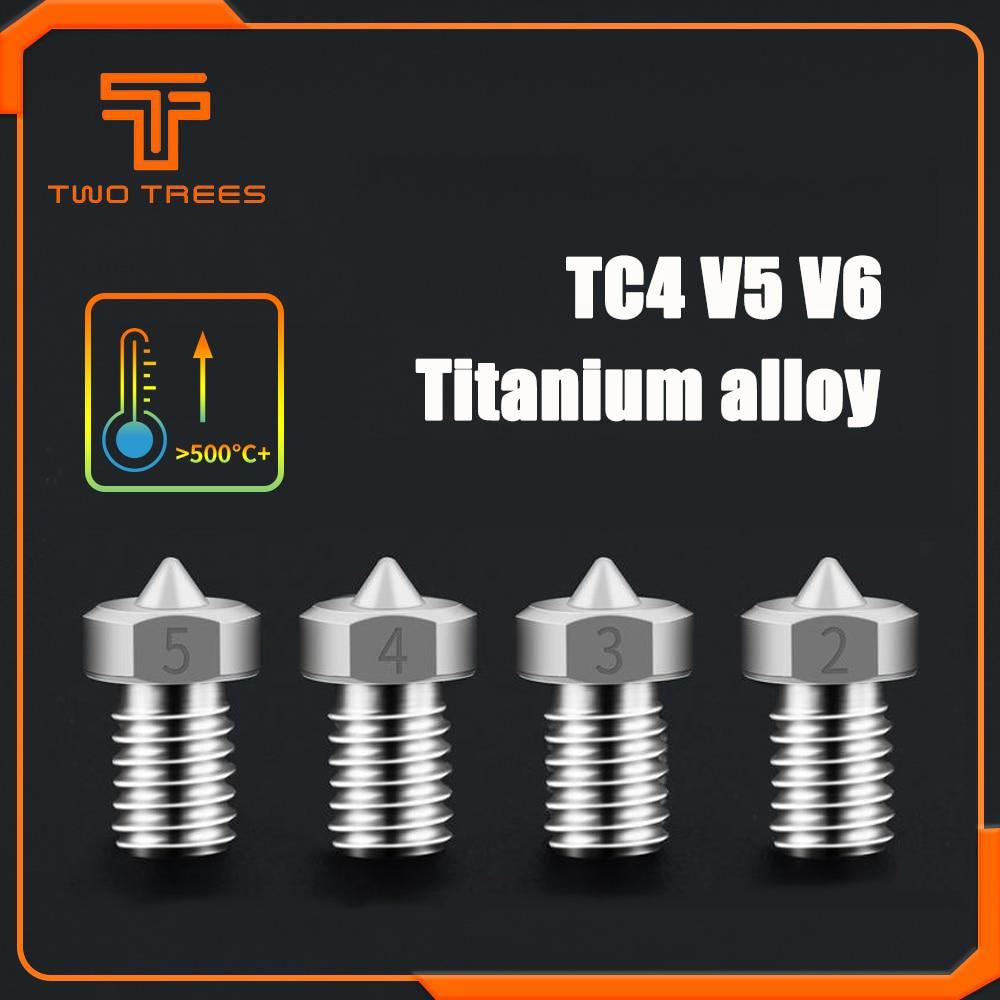 3D Printer TC4 Titanium Alloy V5 V6 Nozzle Reprap 1.75mm 0.2/0.3/0.4/0.5mm for Ender 3 CR10 Ender 5 Two trees Bluer Sapphire pro
