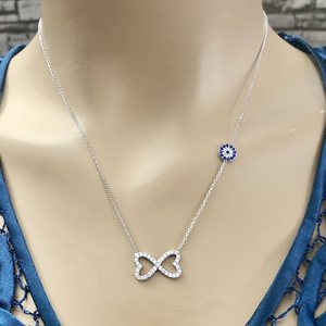 Hearts 925 Sterling Silver Necklace Women Girls Gift Jewelry Accessories Fashion Handmade Elegant Chain
